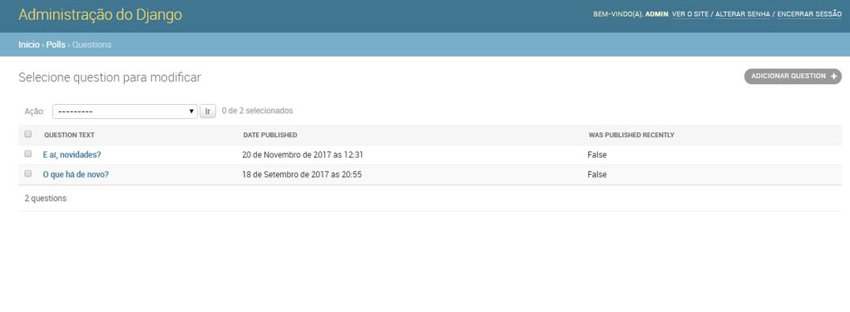 Listagem das questions com was_published_recently