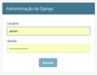Tela de login do django