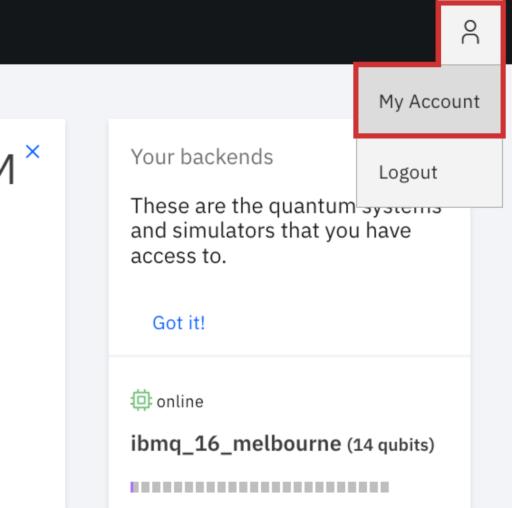 IBM Q configuração da conta