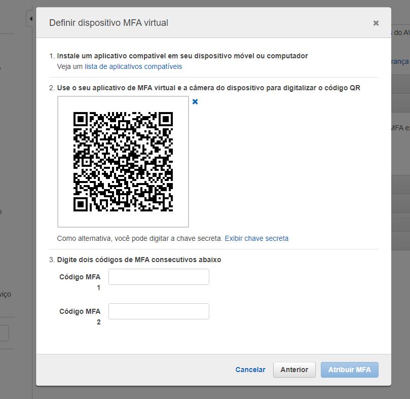 Definir dispositivo MFA mostrando o código