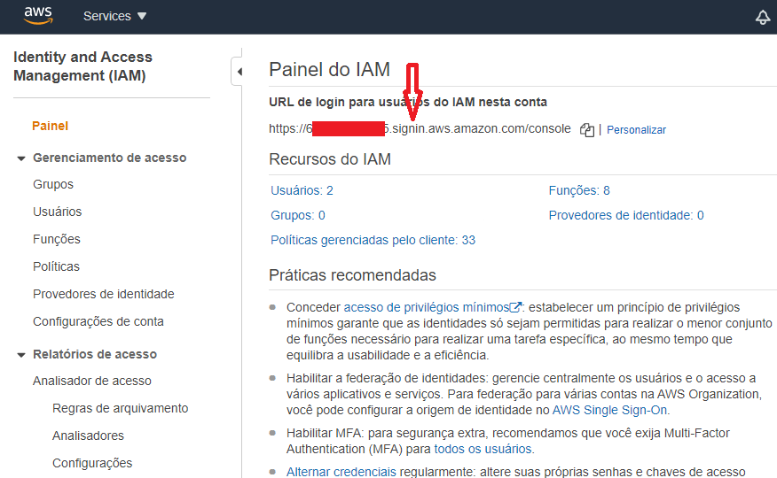 Link de login no painel IAM
