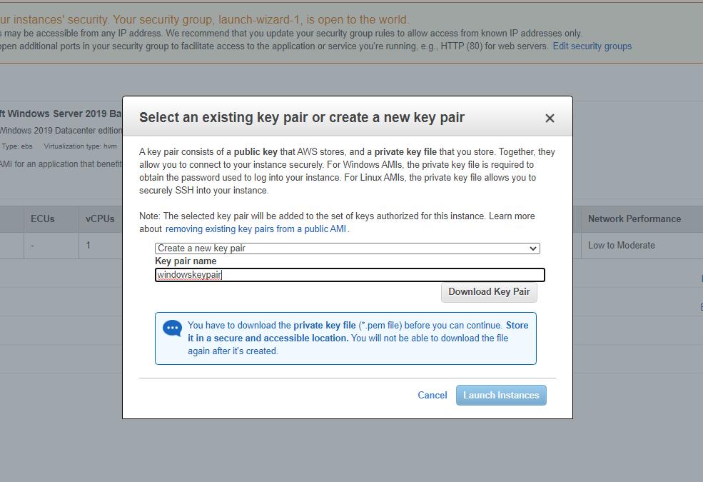 Escolha Create a new key pair e dê um nome