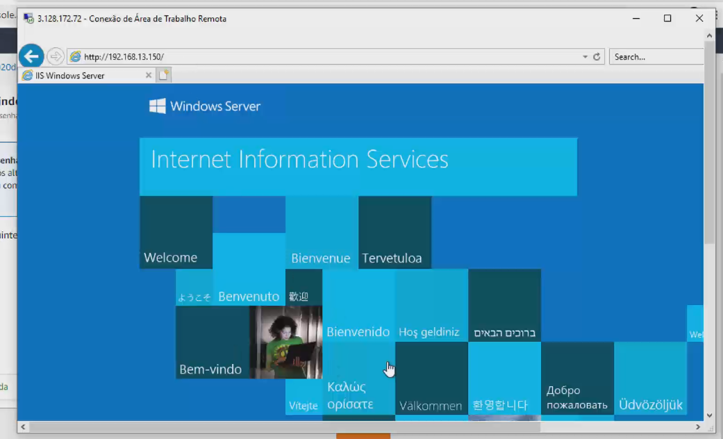Acesse o servidor no browser da máquina virtual com o ip privado