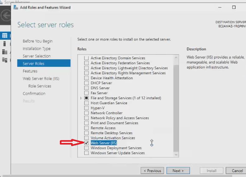 Em Server Roles selecione a opção Web Server(IIS)